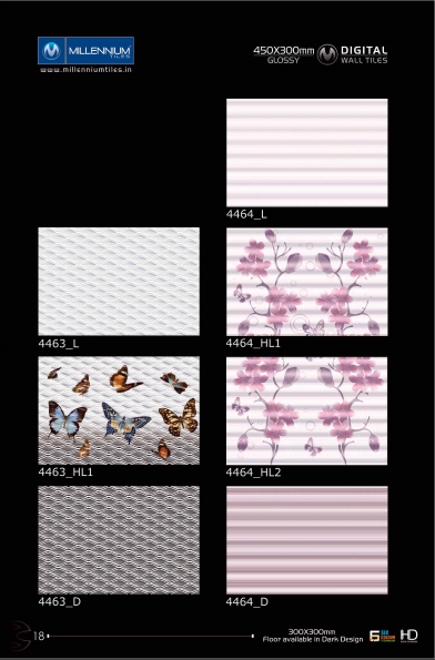 Backsplash Tiles 4463 4464 Millennium Tiles 300x450mm 12x18 Digital Ceramic High Definition Glossy Patterns Wall Tiles Series The Matching Floor Tiles