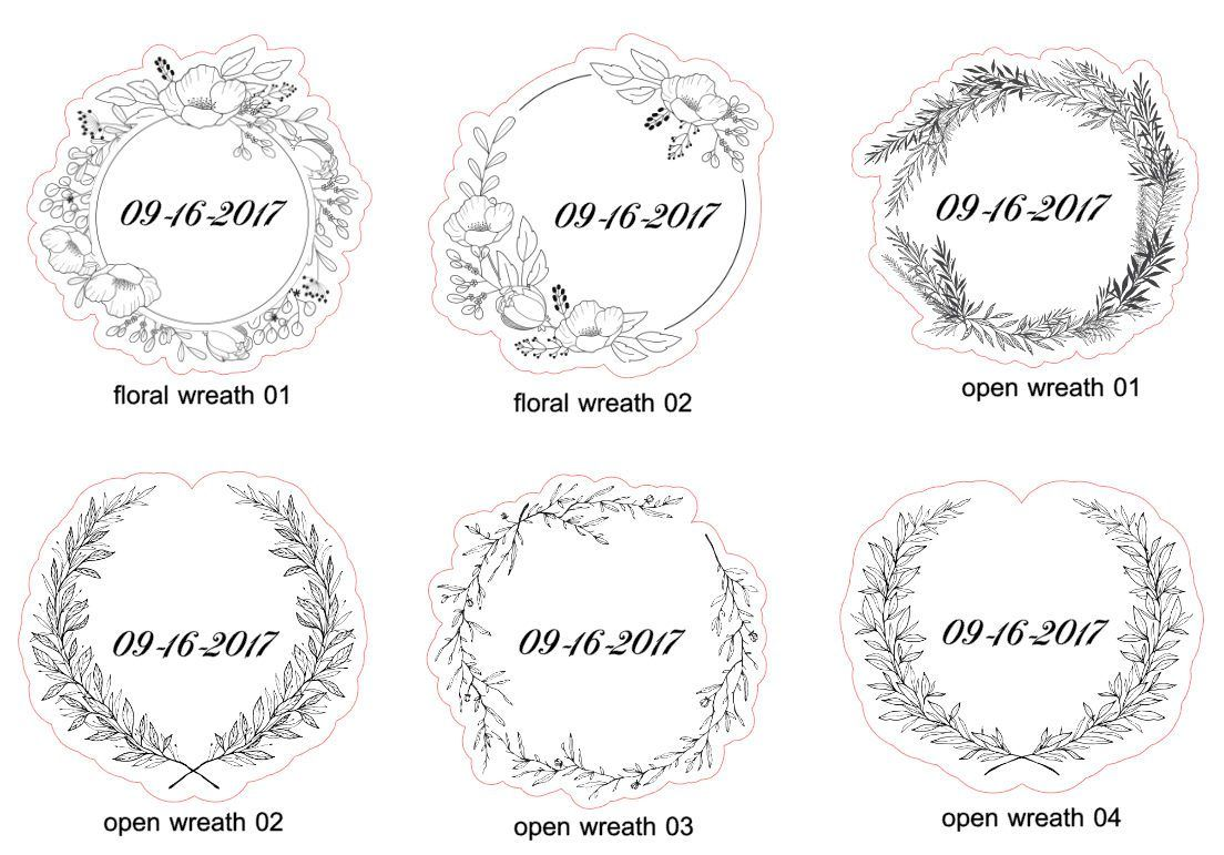 Custom floral wreath clear stickers labels white non removable or removable set of 10