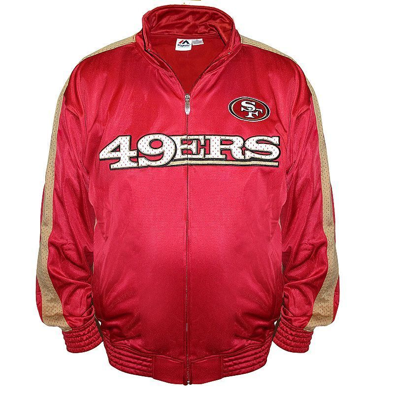 Big & Tall Majestic San Francisco 49ers Tricot Track Jacket, Men's, Size: L Tall, Red