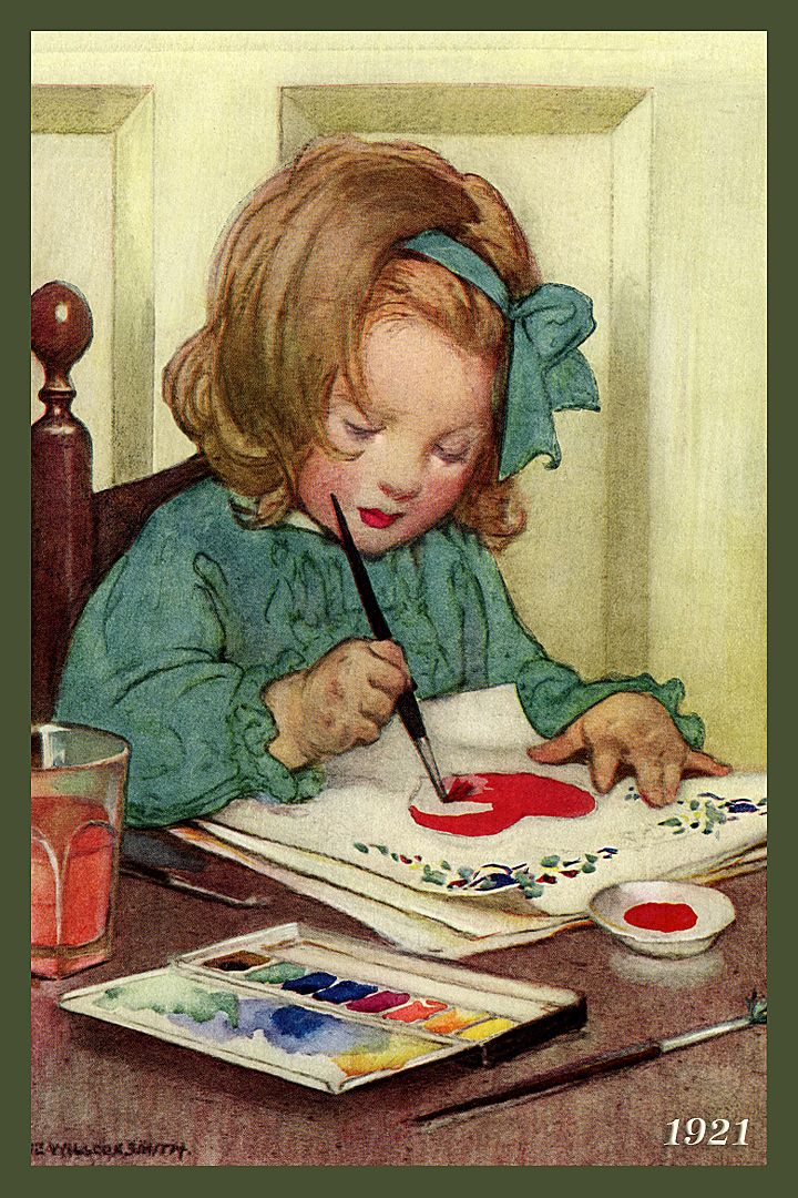 Quilt Block of 1921 painting of Young Girl Painting by Jessie Willcox Smith printed on cotton. Ready to sew. Single 4x6 block $4.95. Set of 4 blocks with pattern $17.95.