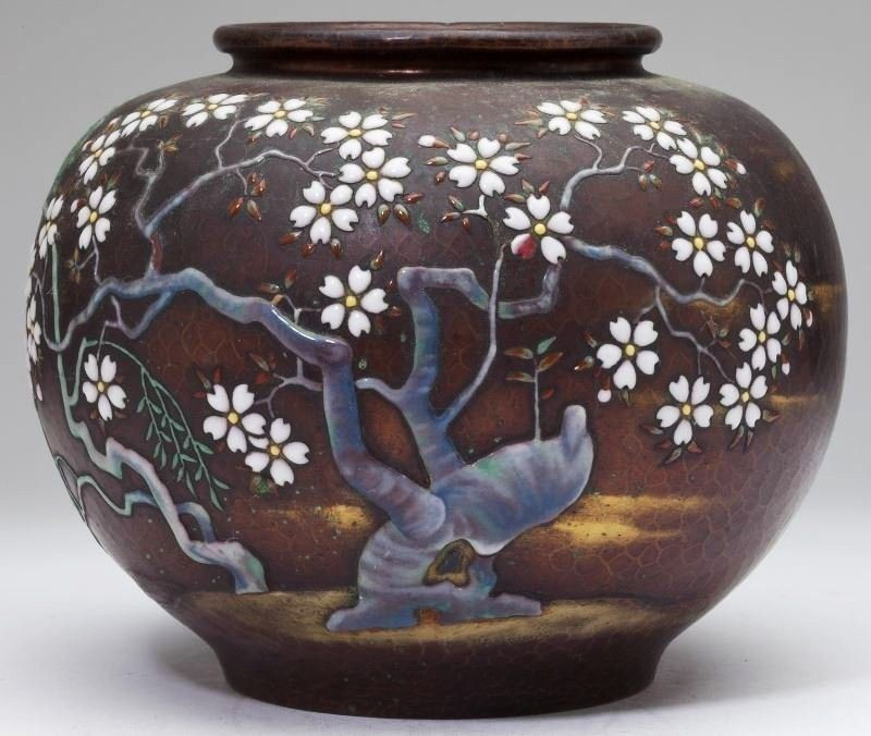 Japanese Ando Cloisonne Vase Enamel On Hand Hammered Copper Body