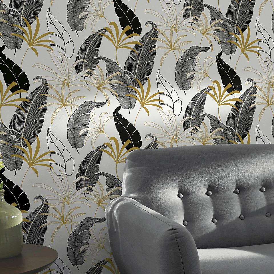 Goodhome Selago Black Gold White Leaf Metallic Effect Wallp