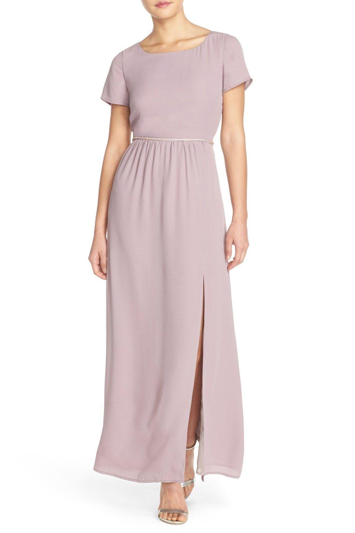 by Lauren Conrad 'Shreveport' Side Slit A-Line Crepe Gown