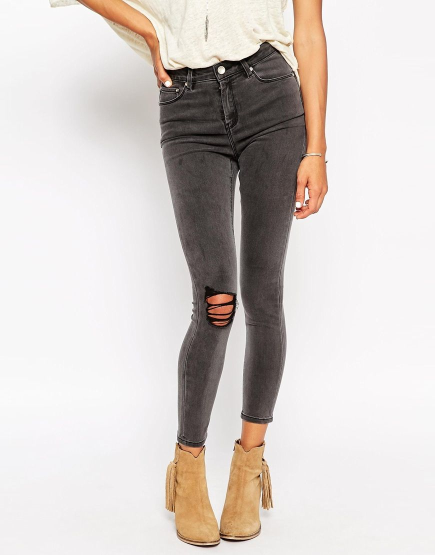 Image 1 of ASOS Ridley High Waist Ultra Skinny Ankle Grazer Jeans in  Ruthless Gray with