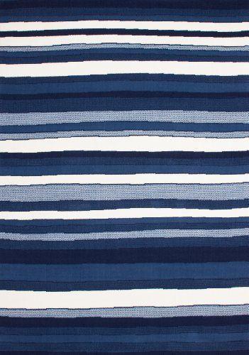 Teppich Wohnzimmer Carpet Modernes Design Streifen RUG Funky 660 Blau 190x280cm