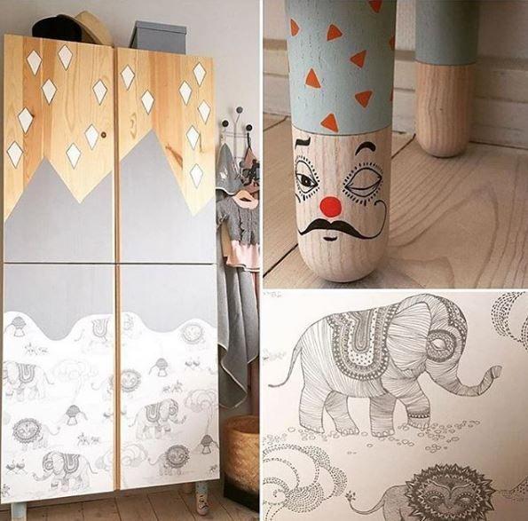 Schöner Ikea Ivar Hack Fürs Kinderzimmer Einfach Den Schrank Mit Tapete Bekleben Und Farbe Streichen