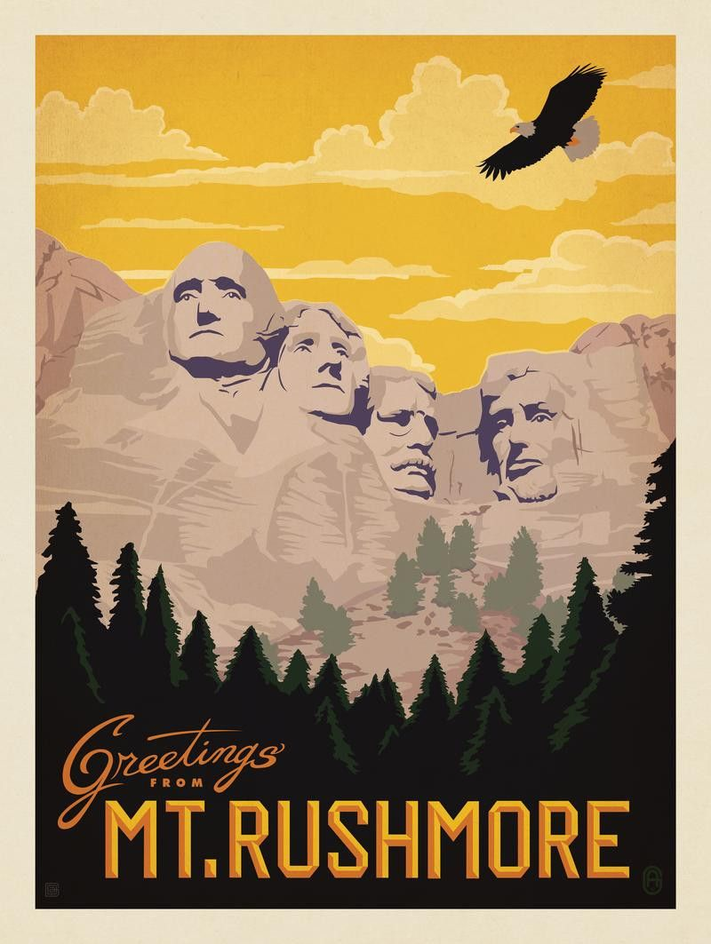 Mount Rushmore National Monument WPA-Style Vintage-Style Travel Poster 12x18