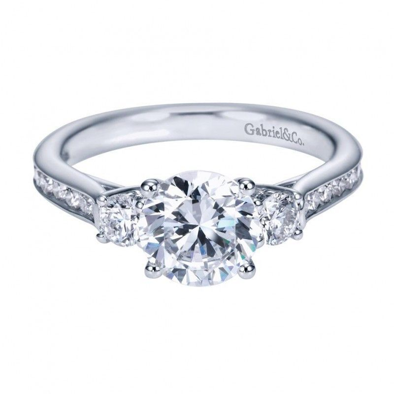 Fabulous  cttw Stone Plus Diamond Engagement Ring with Channel Set Side Diamonds and Trellis