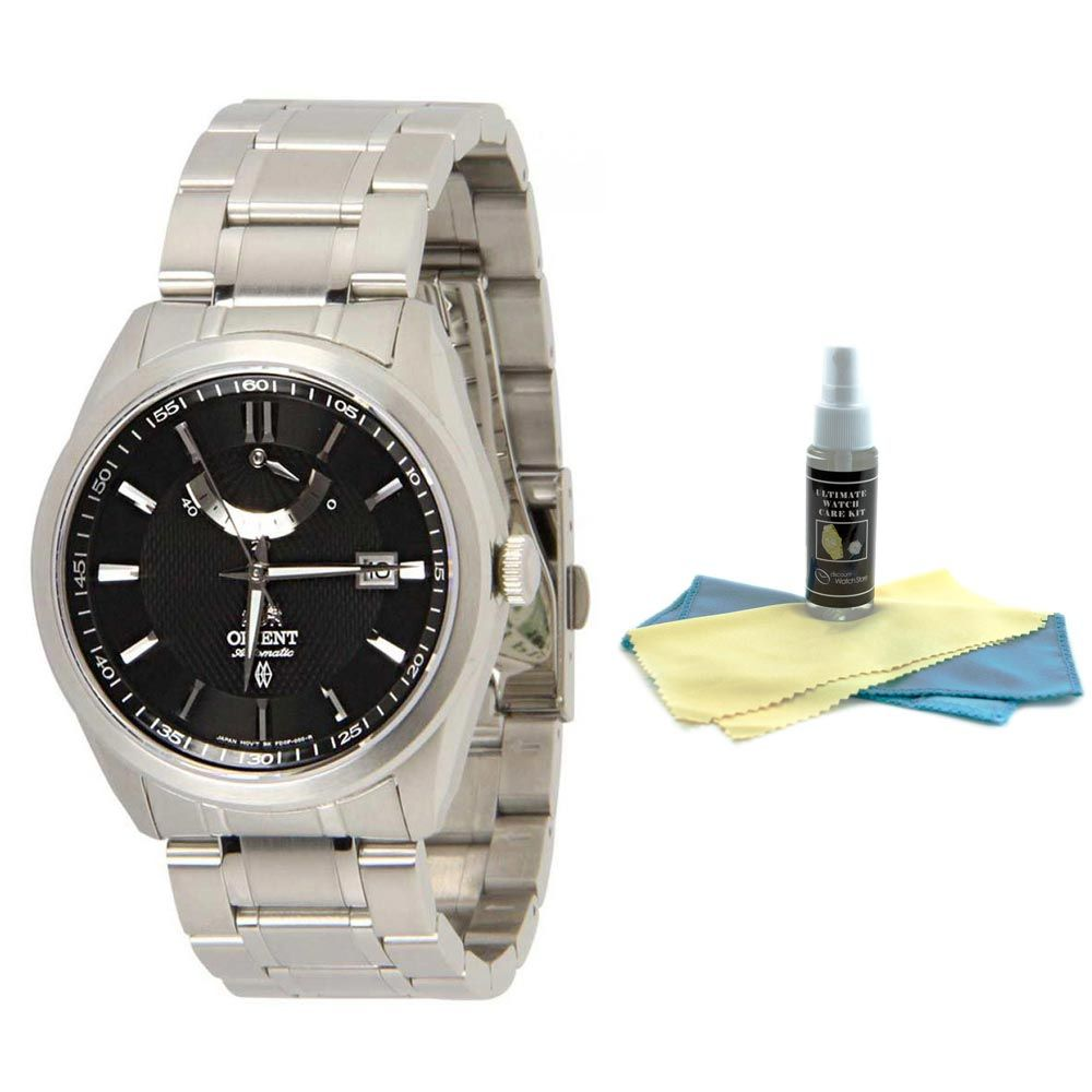 Orient FFD0F001B Men's Vintage Stainless Steel Black Dial Power Reserve Automatic Watch with 30ml Ultimate Watch Cleaning Kit