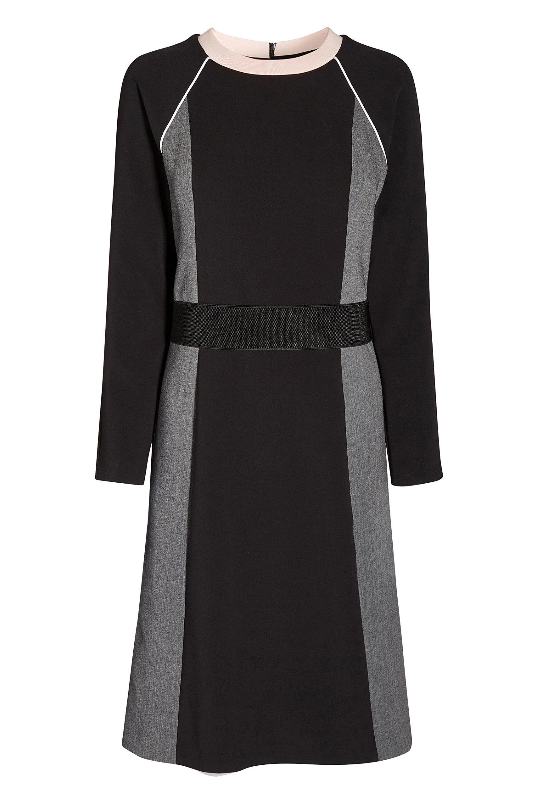 Next women black grey colourblock long sleeve dress petite fit next