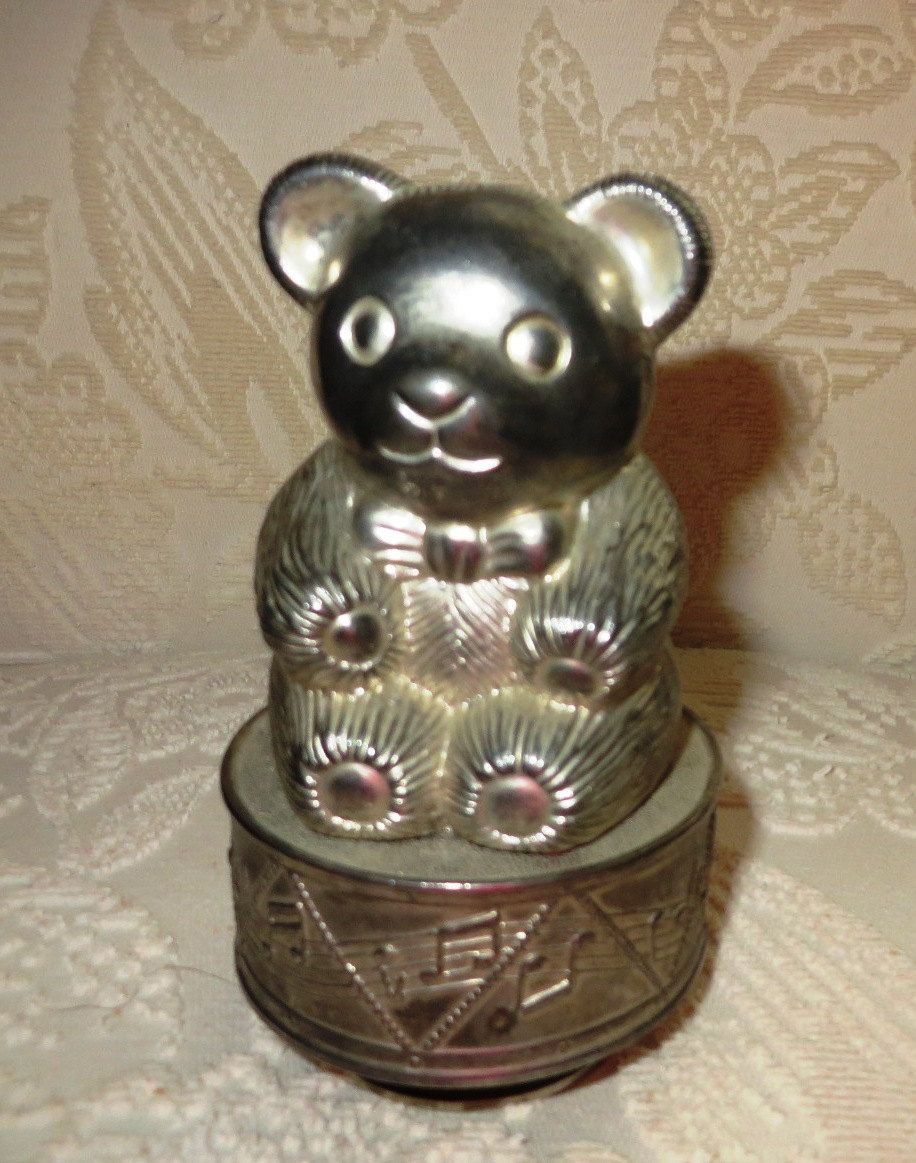 Vintage Teddy Bear Coin Bank Music Box Piggy Bank Music Box
