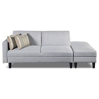Luck Fabric Futon With Storage Ottoman Silver The Brick