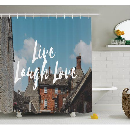 Live Laugh Love Shower Curtain Rustic Country Houses With Brick Composition Calming Scenery And A Quote Fabric Bathroom Set Hooks 69W X 84L Inches