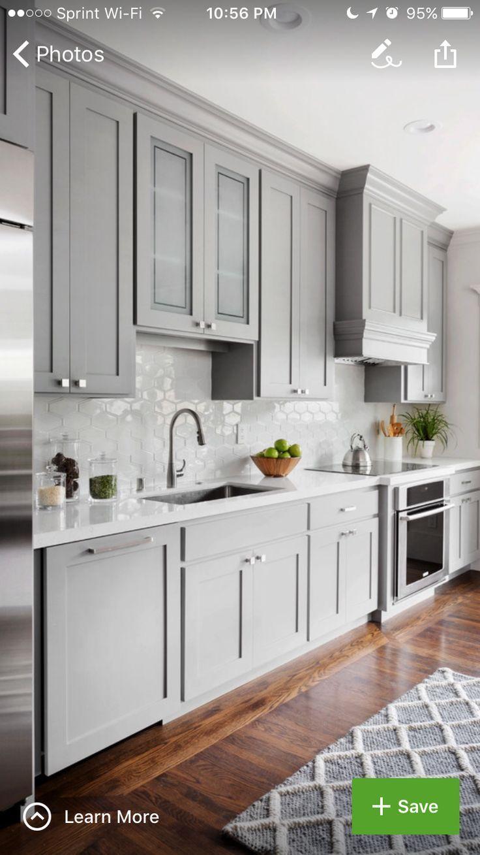 Kitchen cabinets - Benjamin Moore paint Greystone   Mirror Ideas ...