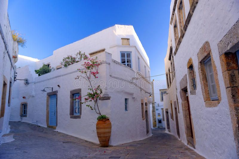 Streets in Patmos. Narrow streets in the Greek Island of Patmos showing typical ,