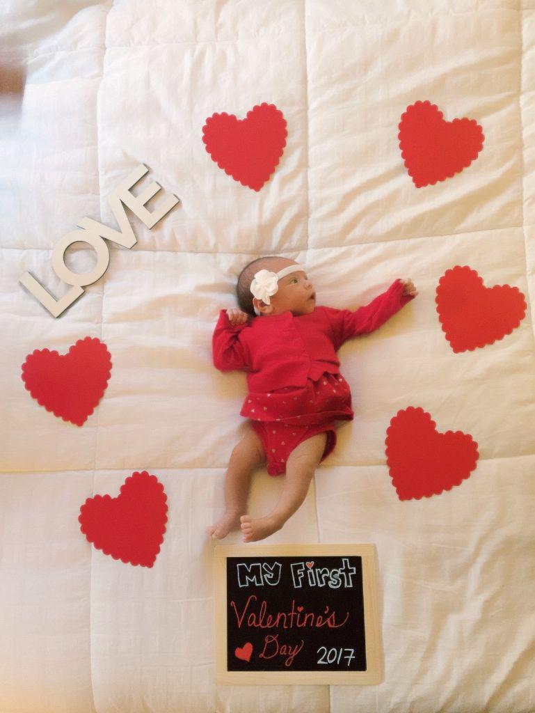 DIY Valentine's photo for baby's first Valentine's Day