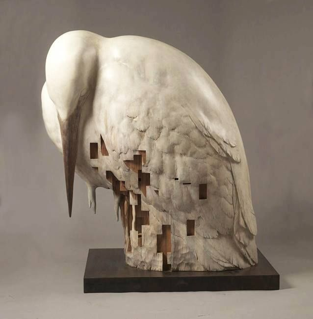 Sculpture By Hsu Tung Han Modern Sculptures Pinterest Artwork - Taiwanese sculpture uses wood to create sculptures of people effected by pixelated glitches