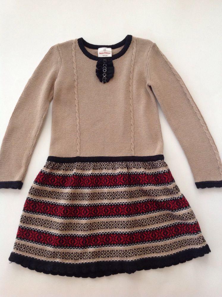 HANNA ANDERSSON Girls Tan Fair Isle Knit Sweater Dress Size 120 6 ...