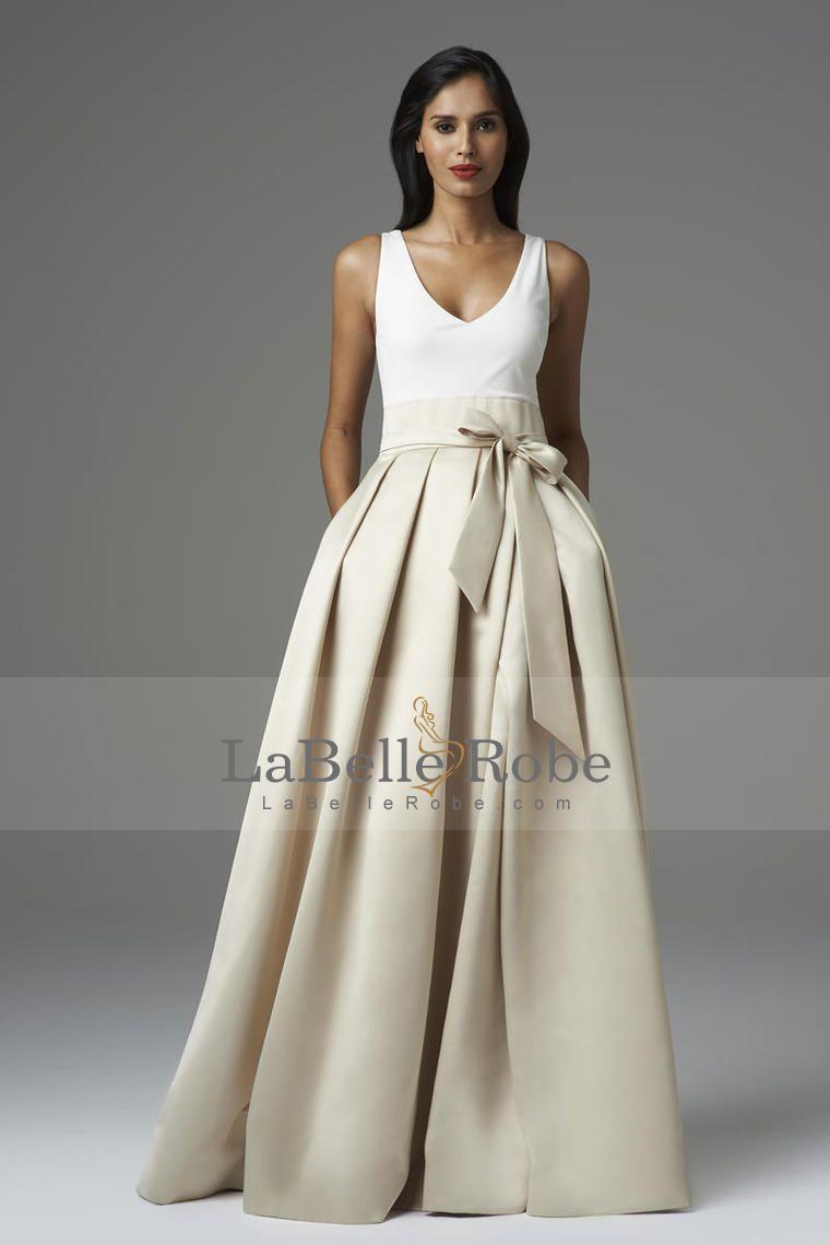 v neck une ligne de longueur robe de bal étage avec ruban de