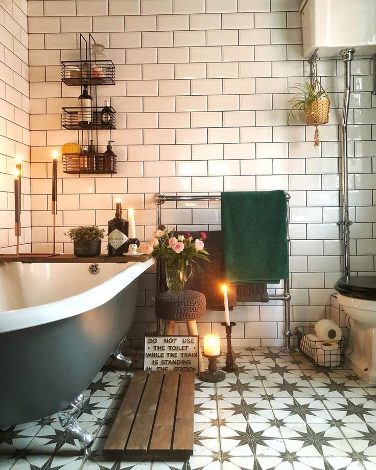 Photo of bathroom inspiration- metro tiles, roll top bath tub, tiling, & vintage styling @hardcastletowers In