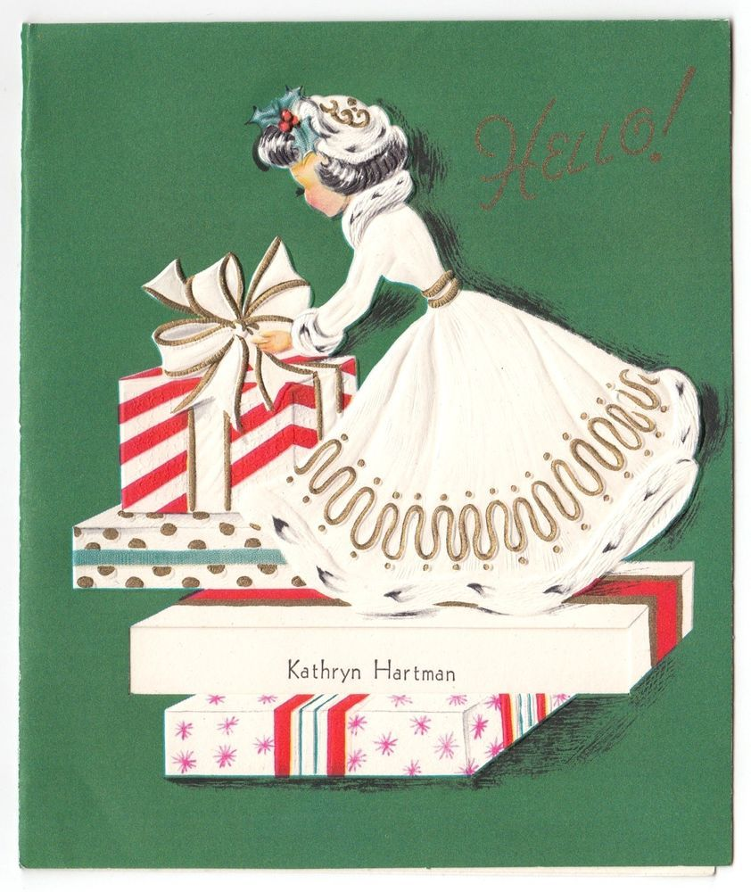 Vintage greeting card christmas pretty lady white fur trim dress vintage greeting card christmas pretty lady white fur trim dress mid century kristyandbryce Image collections