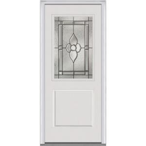 Milliken Millwork 37 5 In X 81 75 In Master Nouveau Decorative Glass 1 2 Lite 1 Panel Primed White Fiberg Glass Decor Steel Doors Exterior Millwork