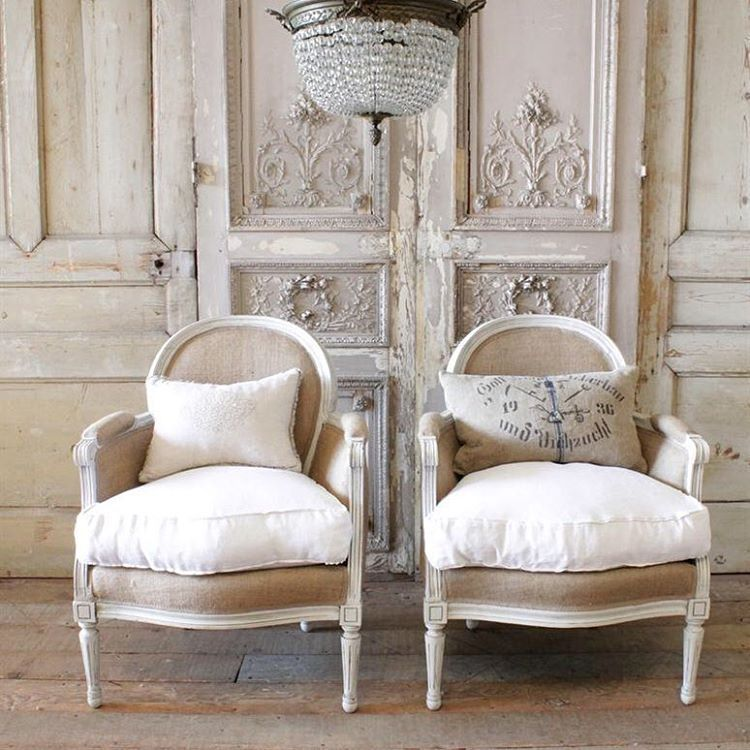 Pair of vintage lovelies... Burlap and linen bergeres #bergeres #vintage #original #antiques #louisxvi