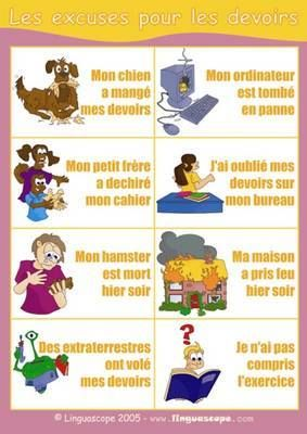 Excuses Pour Les Devoirs Non Faits Teaching French French
