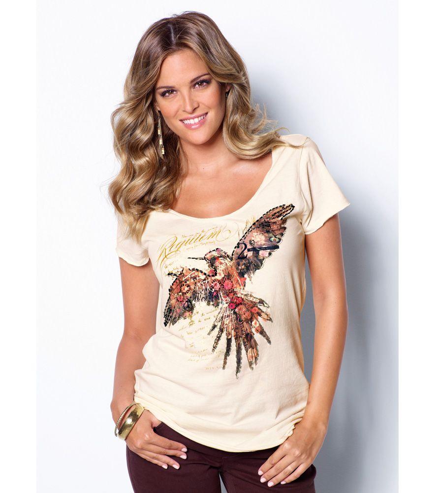 Camiseta mujer manga corta estampada Moda Mujer 1A Venca  dbb2da20c442e