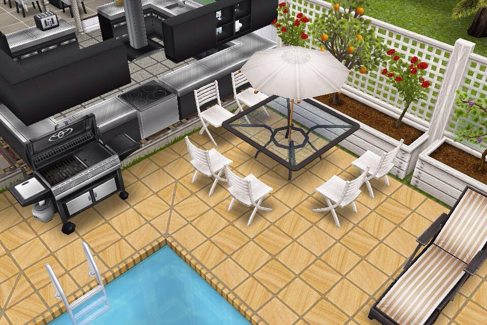 House 3 Outside Bbq Table With Umbrella Sims Freeplay Houses House Design Bbq Table