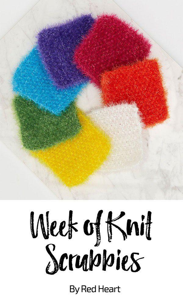 Week of Knit Scrubbies free knit pattern in Scrubby Sparkle yarn ...