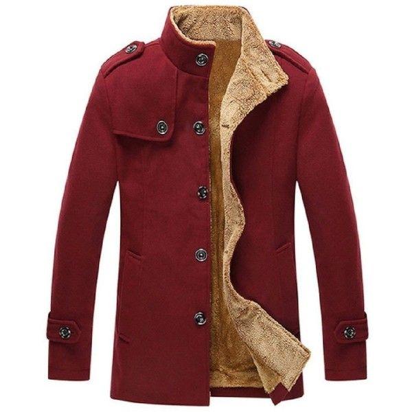 Men Blue Gray Black Faux Fur Sherpa Lining Wool Coat Lapel Pea Coat Jacket