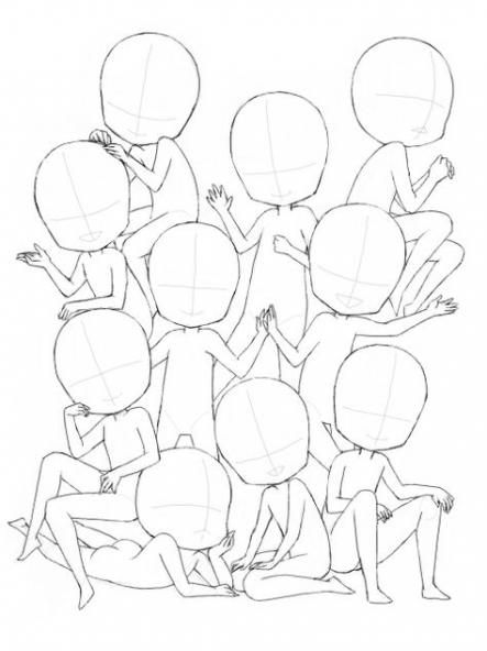 Drawing Poses Group Anime 28 Ideas Chibi Drawings Drawing Poses Drawing Base