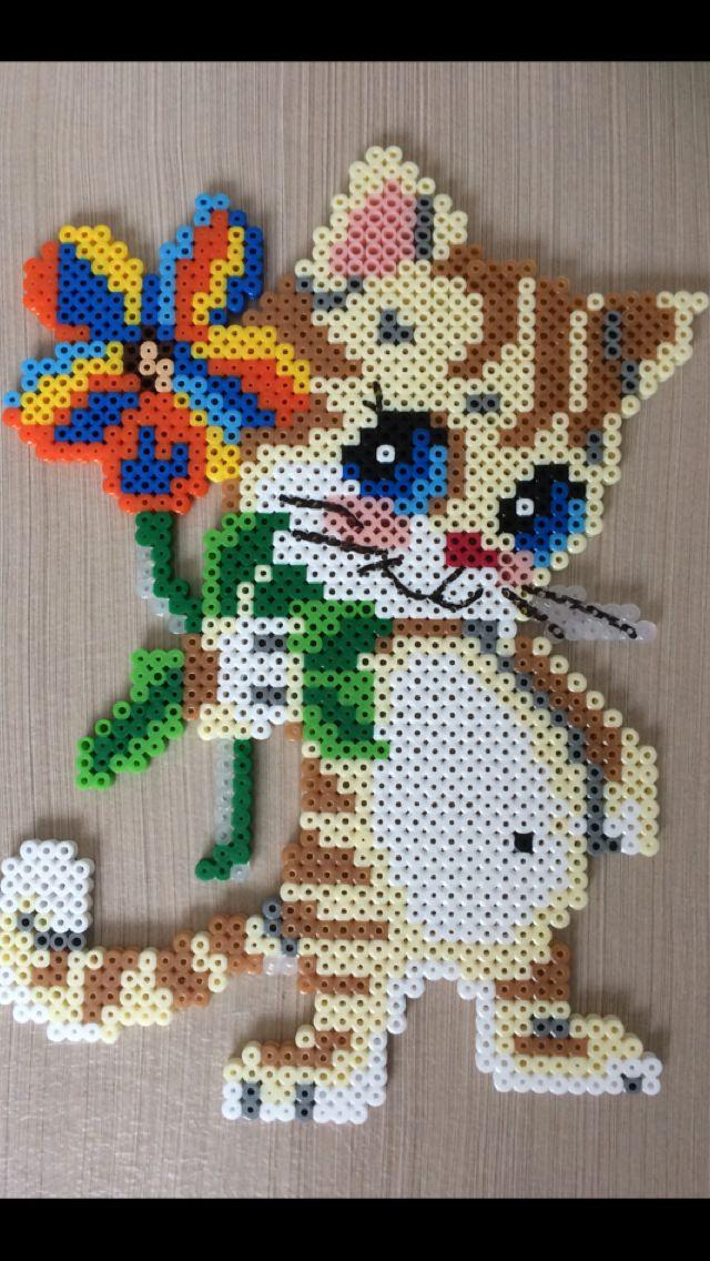 Bugelperlen Katze Bugelperlen Basteln Bugelperlen Handwerk Mit Perlen