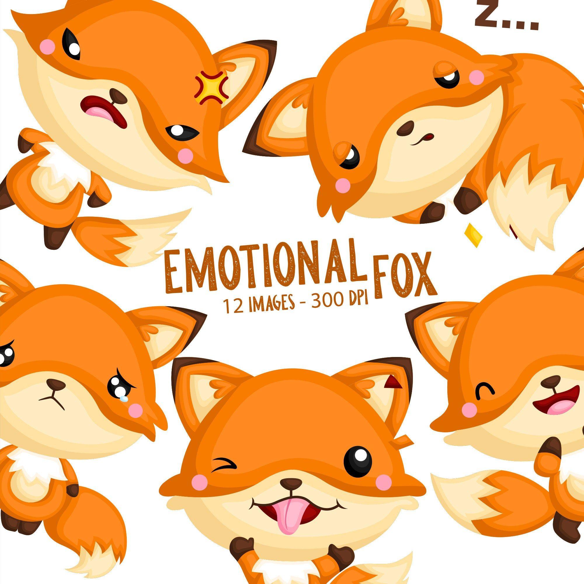 Emotional Fox Clipart Cute Animal Clip Art Wild Animal Etsy In 2021 Baby Clip Art Cute Animal Clipart Clip Art