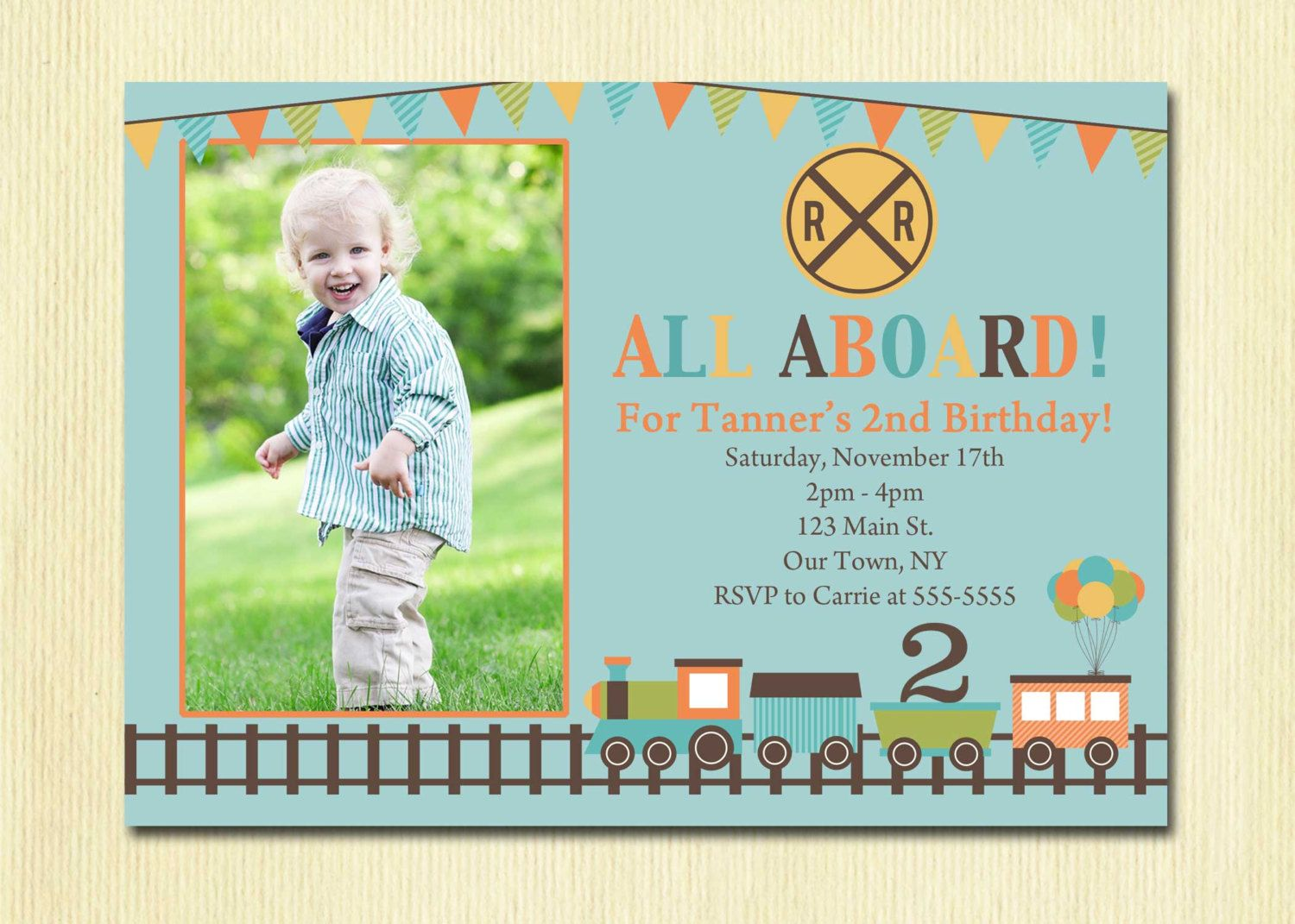 Train Birthday Invitation Boys 1st 2nd 3rd 4th Party