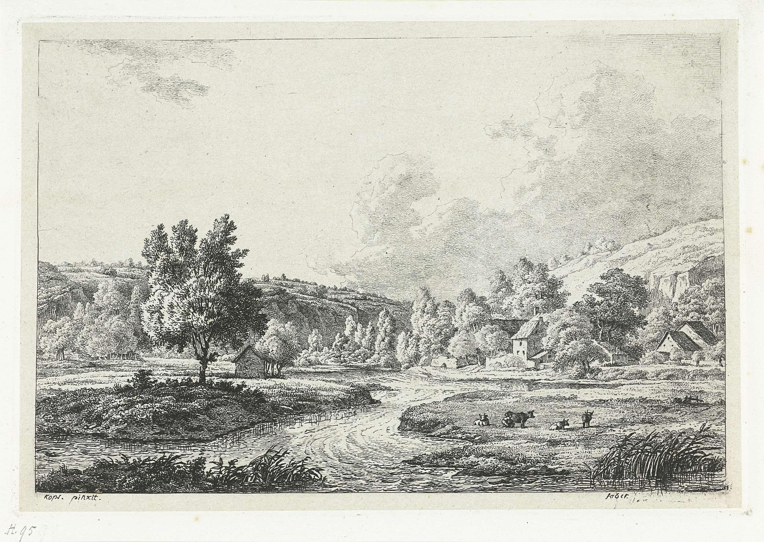 Frédéric Théodore Faber | Bergachtig landschap met rivier, Frédéric Théodore Faber, 1837 - 1840 | Landschap met in het gras langs de rivier enkele koeien. Op de achtergrond, aan de voet van de berg  een dorp.