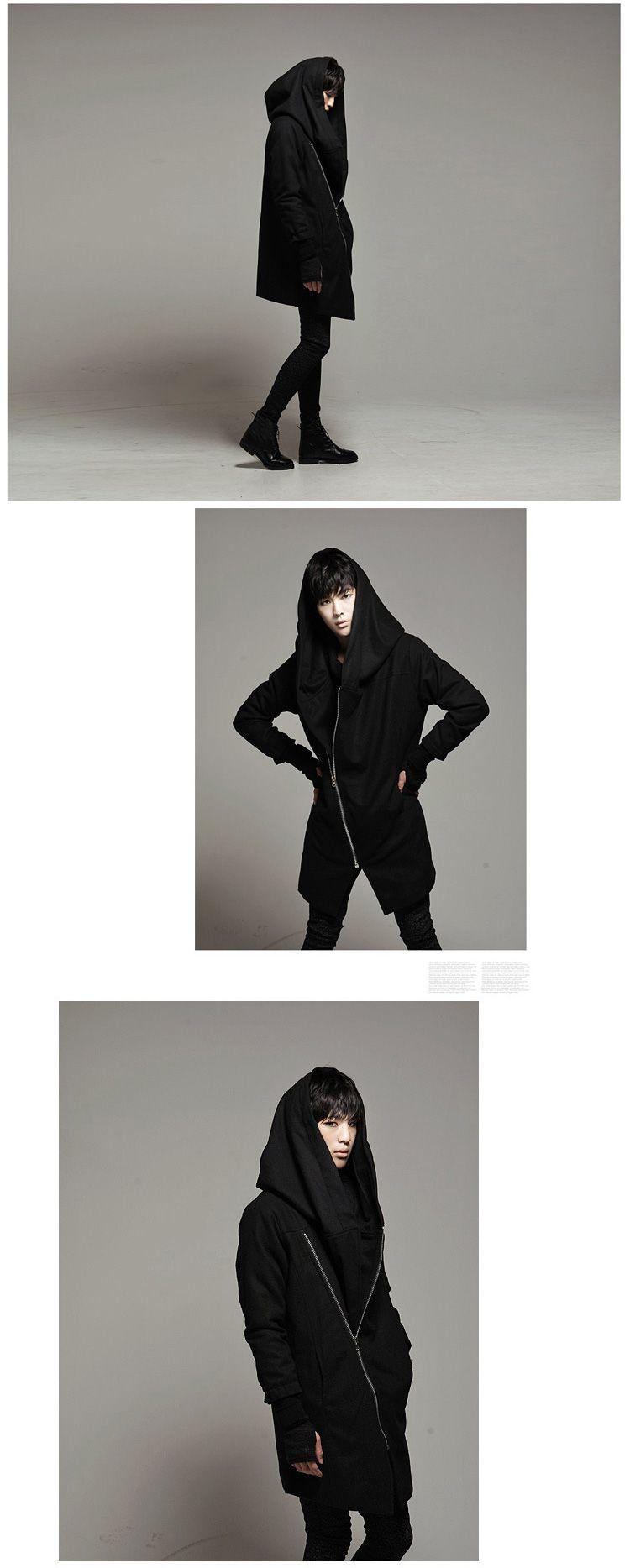 Cool men Korean inclined zipper hooded wool coat jacket