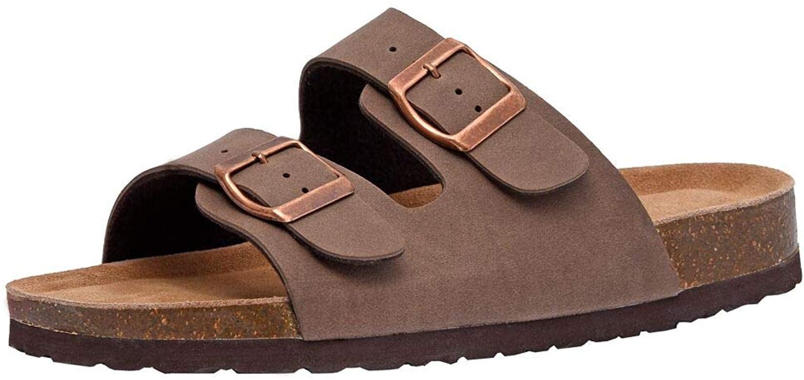 Amazon Com Cushionaire Women S Lane Slide Sandals Brown 8 5 M Slides Cork Footbed Sandals Footbed Sandals Womens Sandals
