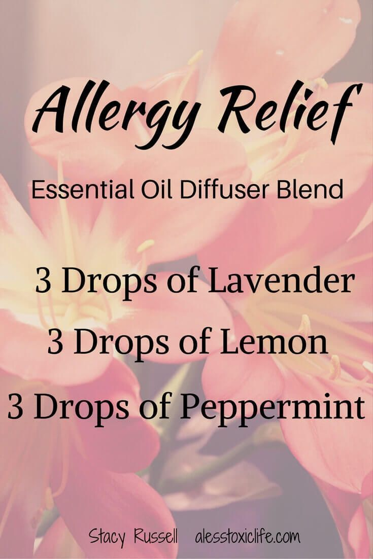 Essential Oil Blend for Allergies. I put this combination of oils in the diffuser when my girls are suffering from allergies. It helps them sleep. #diyasthmarelief