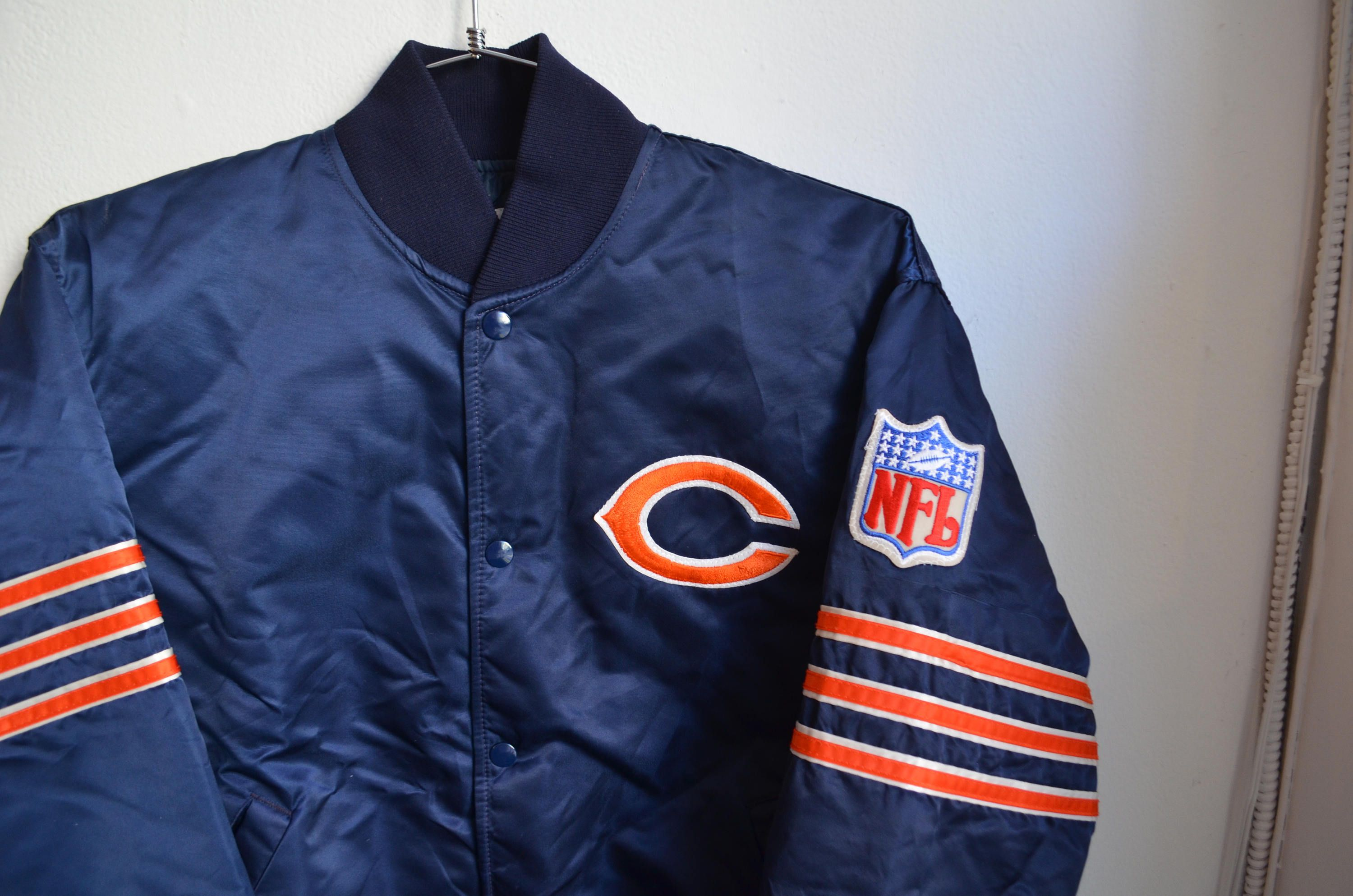 Vintage 80s 90s Starter Chalkline Nfl Football Chicago Bears Etsy Satin Jackets Vintage Outfits Nfl Football