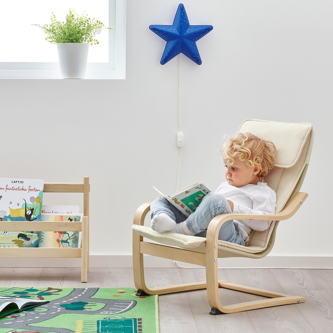 POÄNG Children's armchair - birch veneer, Almås natural ...