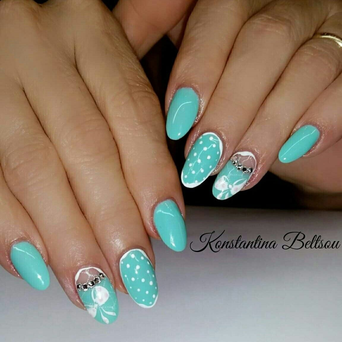 This is a very happy and cute summer design for acrylic long almond ...