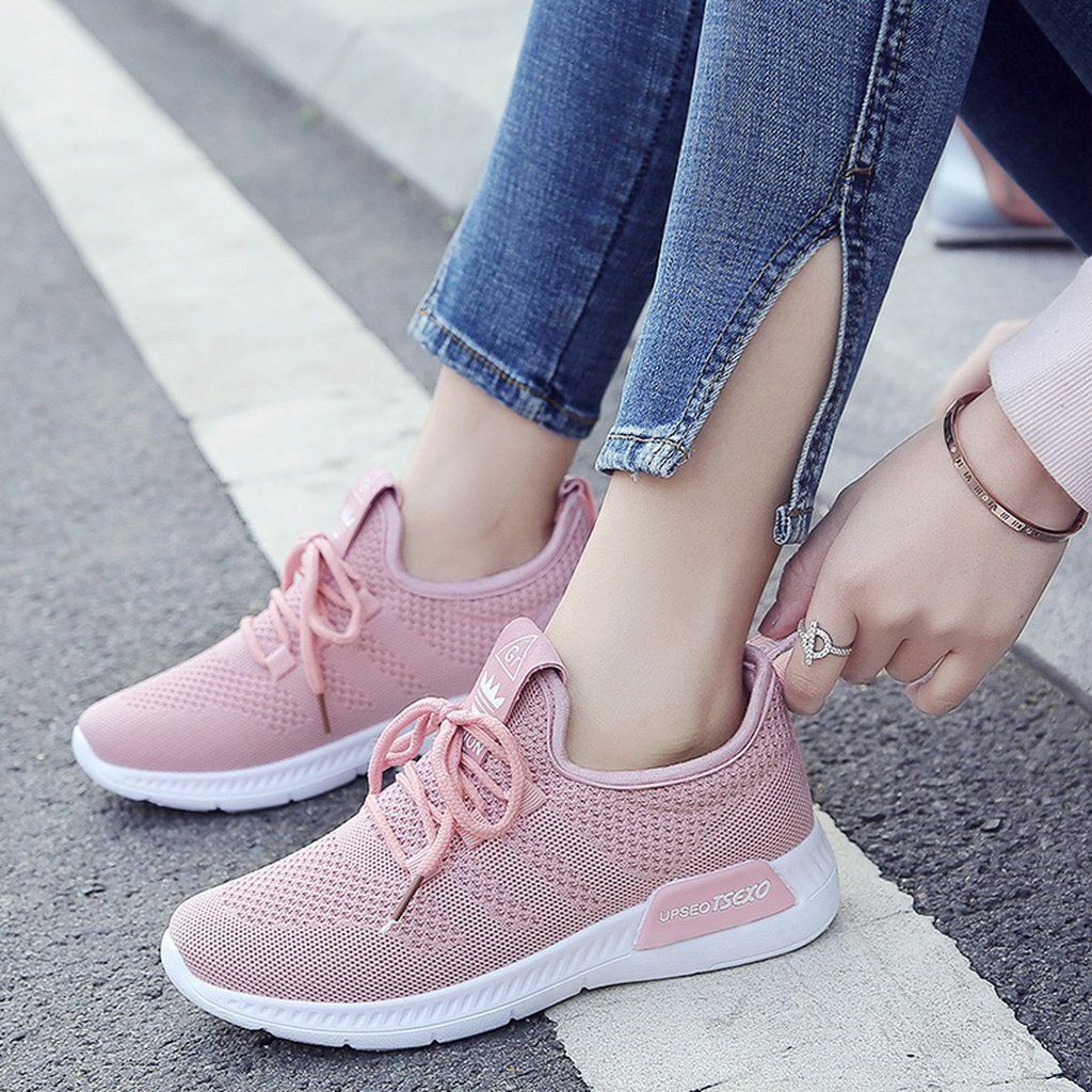 3230c837a2e2 2018 Spring and Summer Fashion Ladies Flying Mesh Breathable Sports Shoes  Korean Leisure Running Shoes