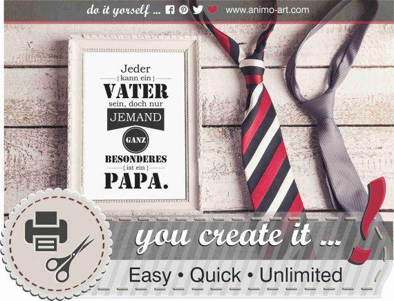 Spruch Printable Vater & Papa mit Geschenkanhänger von animoARTshop