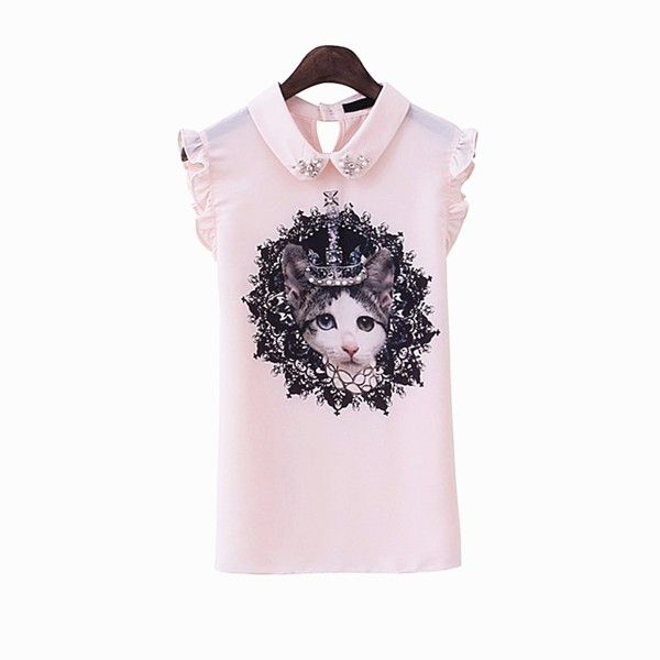 Women's Cat Print Contrast Collar Top with Frill 042122