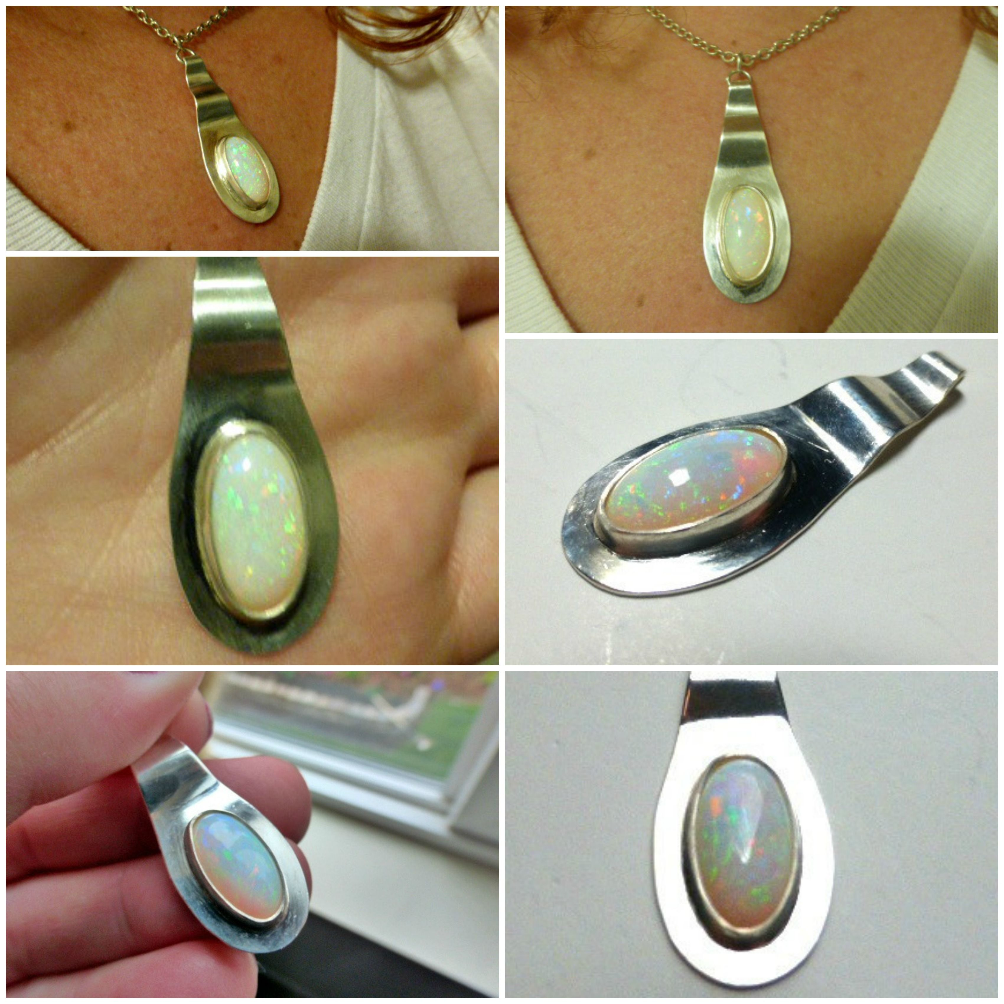 Sterling silver and AAA Opal gemstone pendant McKee Jewelry Designs