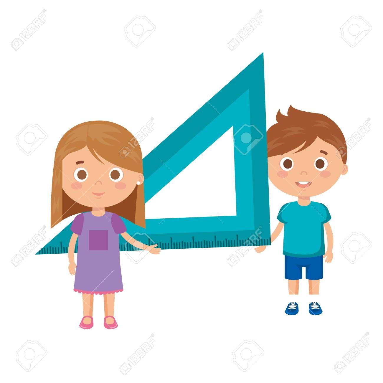 little kids students couple with rule vector illustration design , #spon, #couple, #students, #kids, #rule, #design