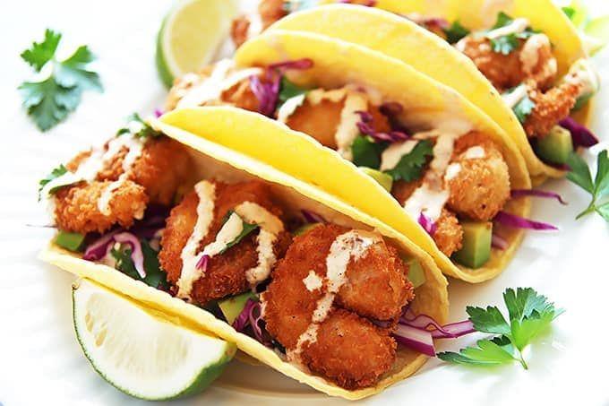 Crispy Shrimp Tacos Recipe » LeelaLicious
