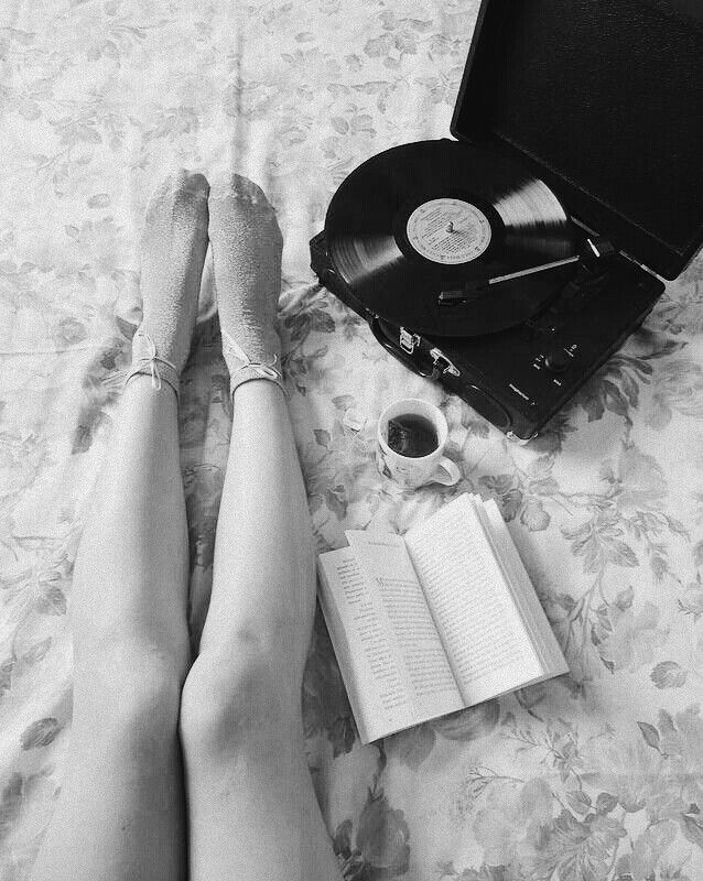 Girl with Vinyl record